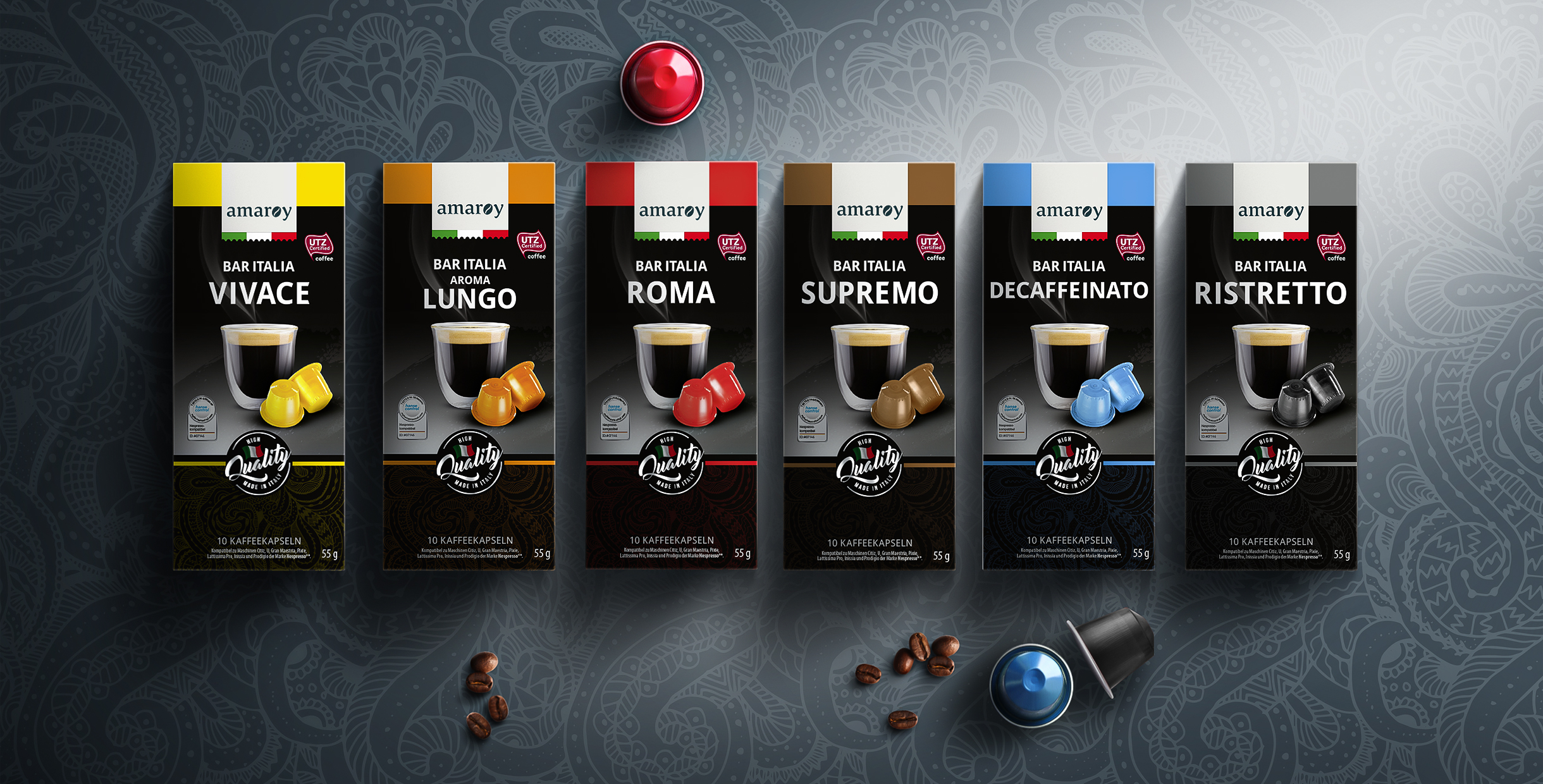 hofer amaroy kapseln espresso packaging design rubicon