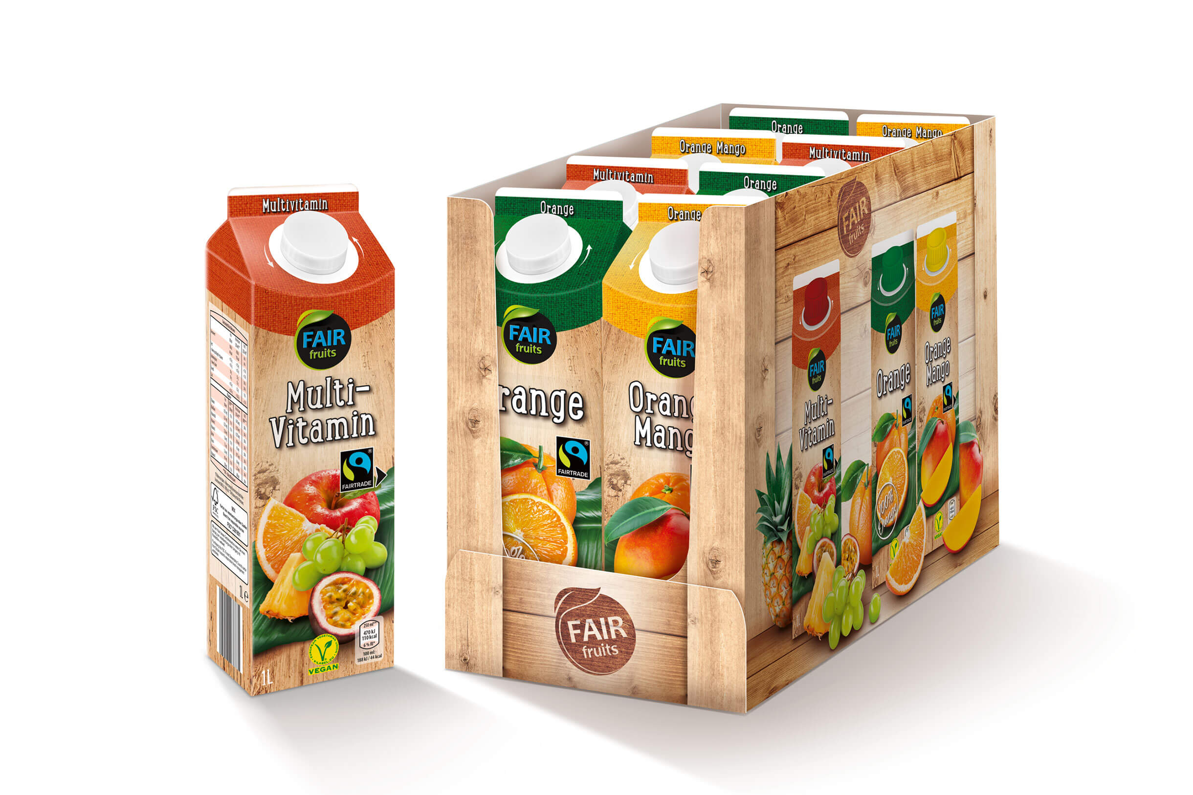 hofer saefte fair fruits tray 3 sorten multivitamin orange orange mango design packaging rubicon