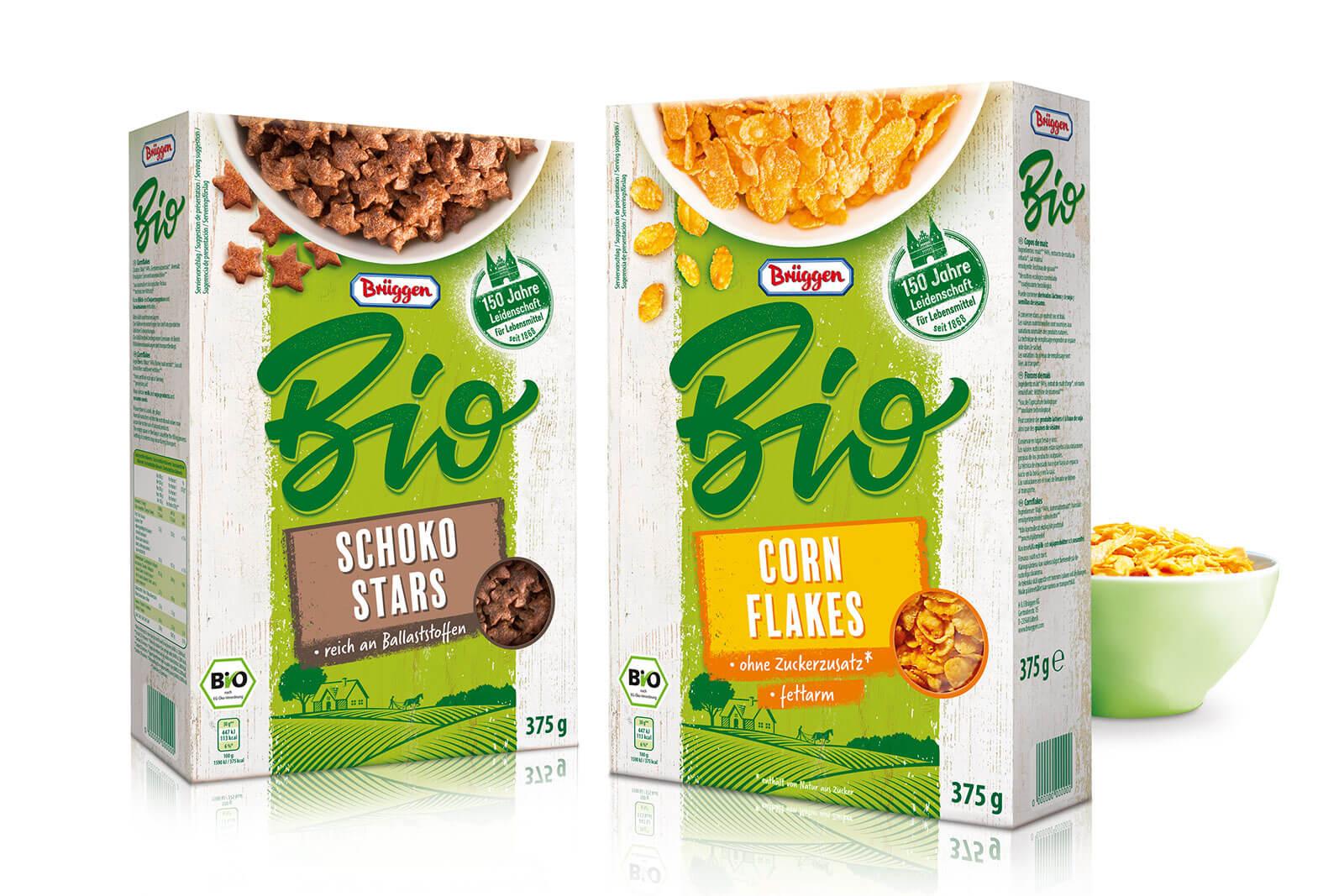 brueggen bio cornflakes und schoko stars packaging design rubicon