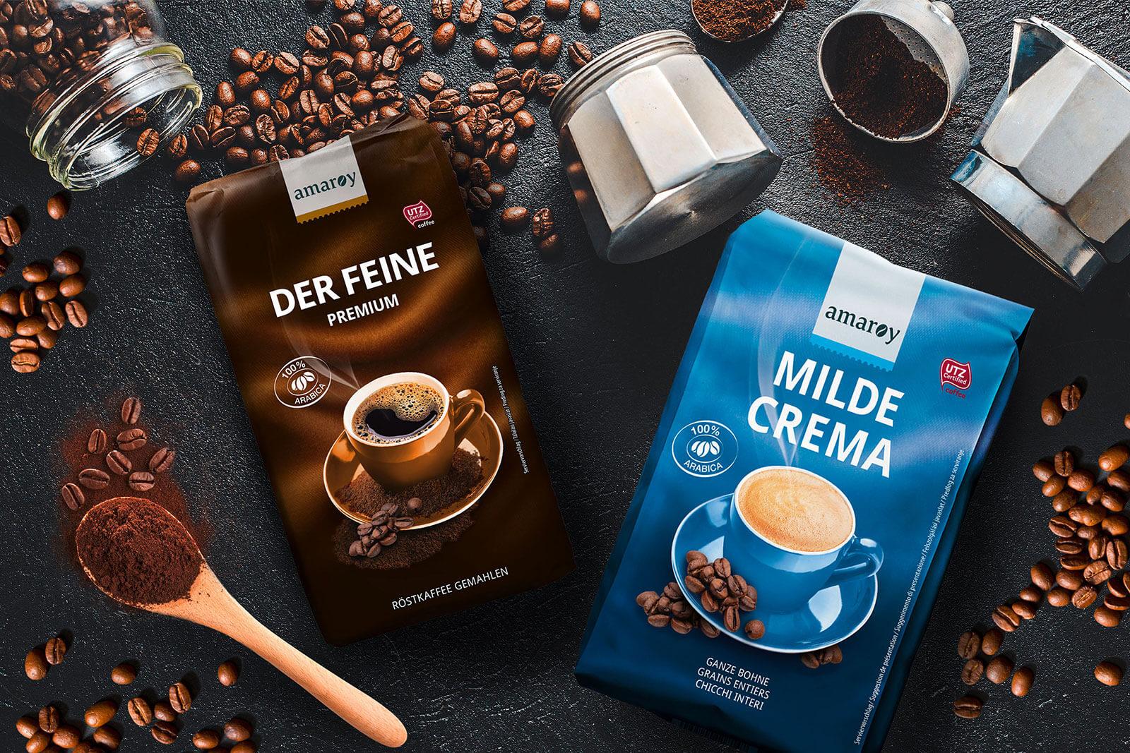hofer amaroy kaffee der feine premium und milde crema imagebild design packaging rubicon