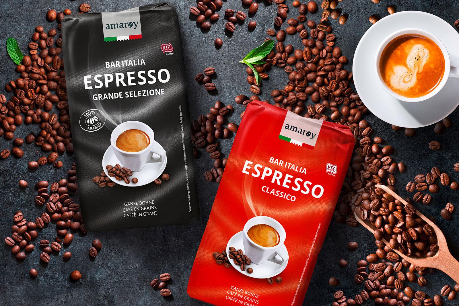 hofer amaroy kaffee bar italia espresso classico und grande selezione imagebild design packaging rubicon