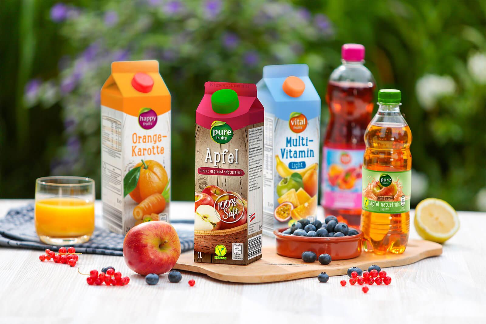 hofer saefte fair fruits imagebild 3 sorten multivitamin orange orange mango schorlen design packaging rubicon
