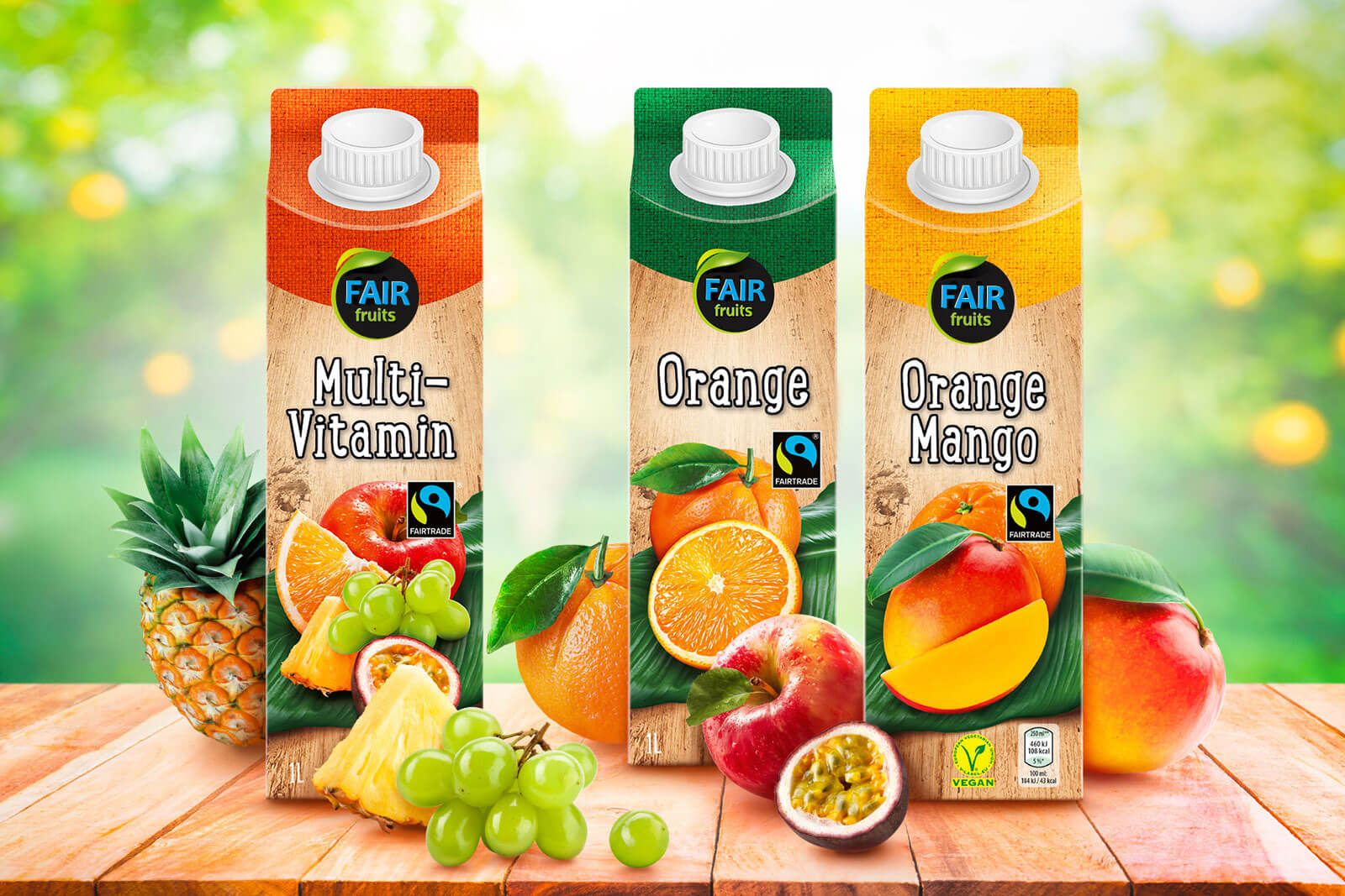 hofer saefte fair fruits imagebild 3 sorten multivitamin orange orange mango design packaging rubicon