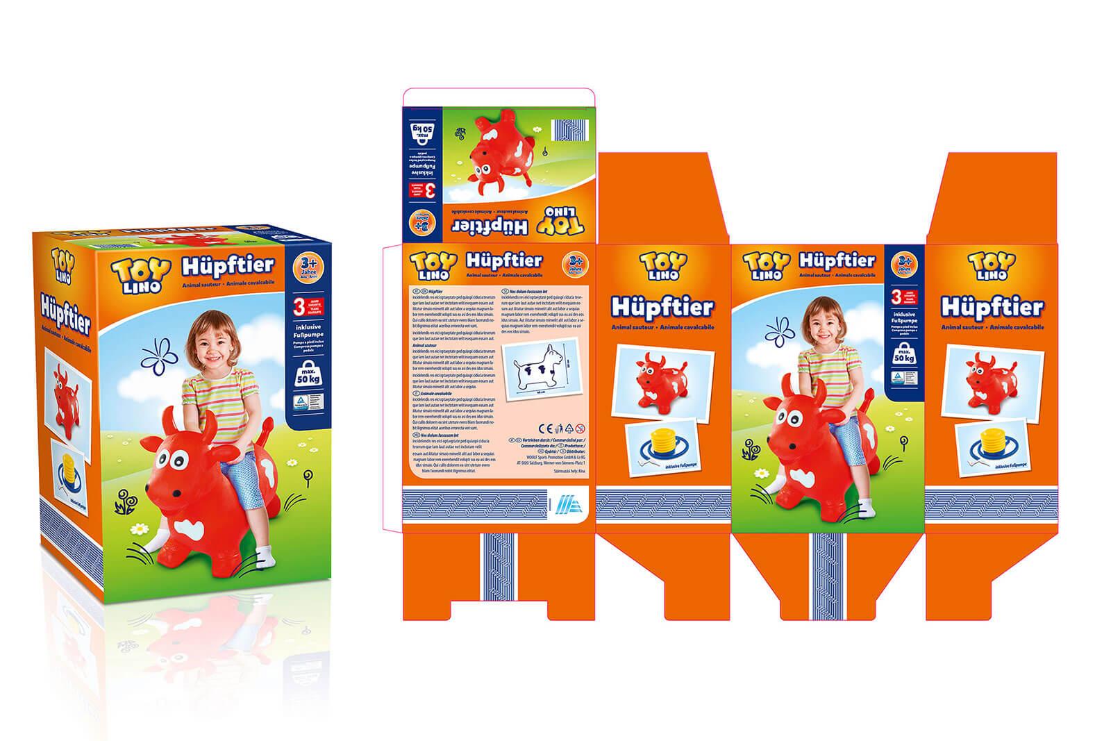 hofer toylino spielzeug hüpftier design packaging rubicon