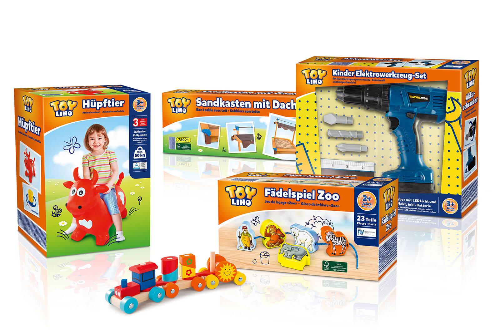 hofer toylino spielzeug verschiedene Artikel design packaging rubicon