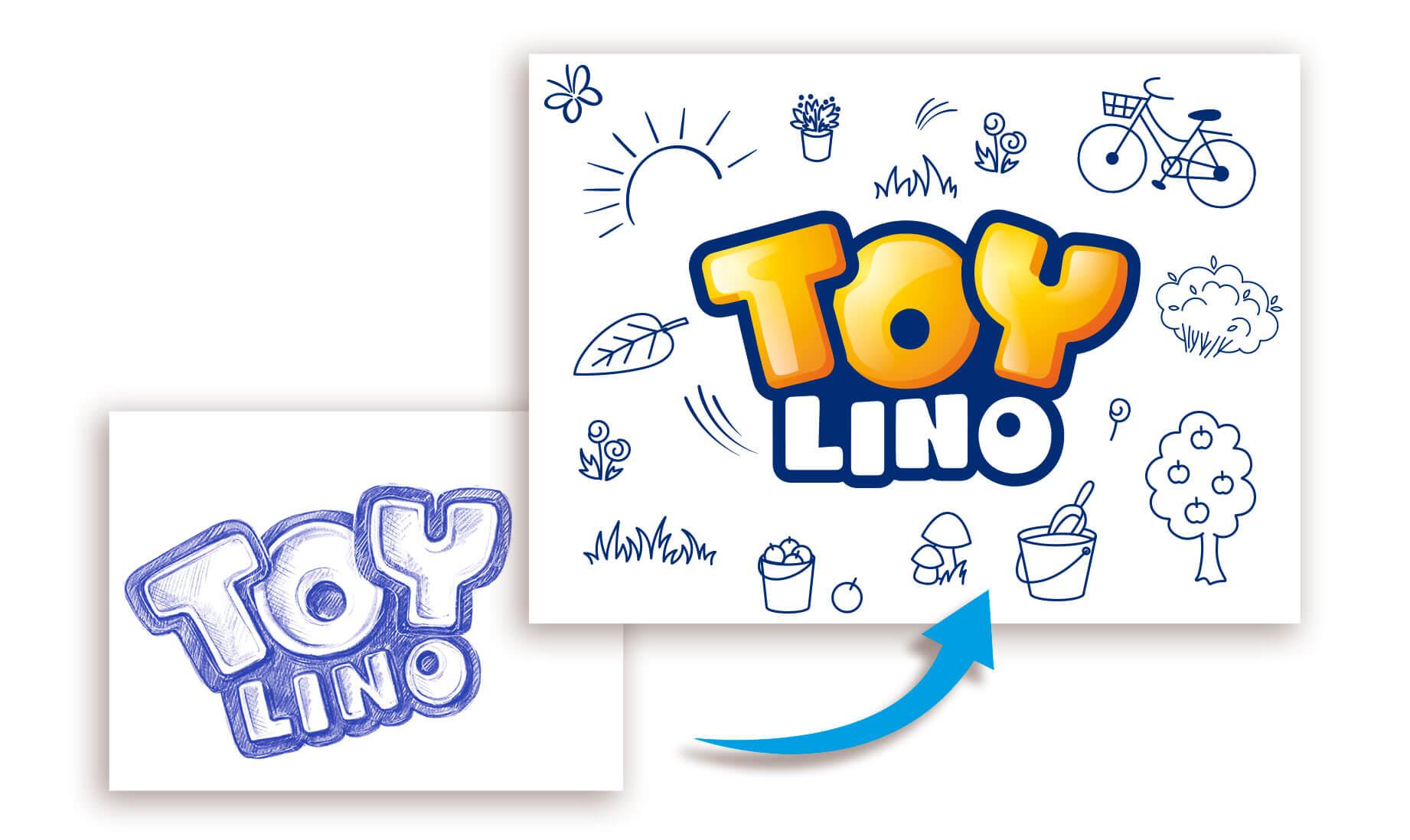 hofer toylino spielzeug logo corporate design